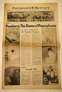 "The front page of the Pottstown Mercury newspaper from 1977, the headline says ""Pennhurst: The Shame of Pennsylvania"""