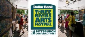 Sign for Dollar Bank Three and Pittsburgh Cultural Trust's Three Rivers Arts Festival