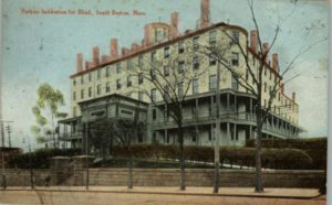 "An old postcard showing the ""Perkins Institution for Blind, South Boston, Mass."""