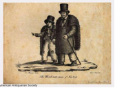 An antique woodcut of a man and a boy with top hats and shabby clothing