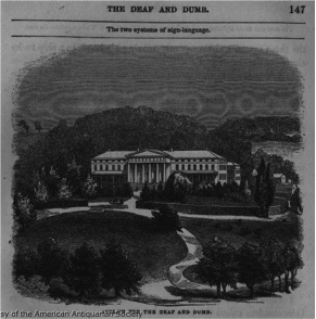 "An antique photo of an old asylum for ""the deaf and dumb"" according to the caption"