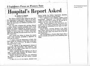 "A newspaper clipping with the headline ""Hospital's Report Asked - 2 Legislators Focus on Western State"""