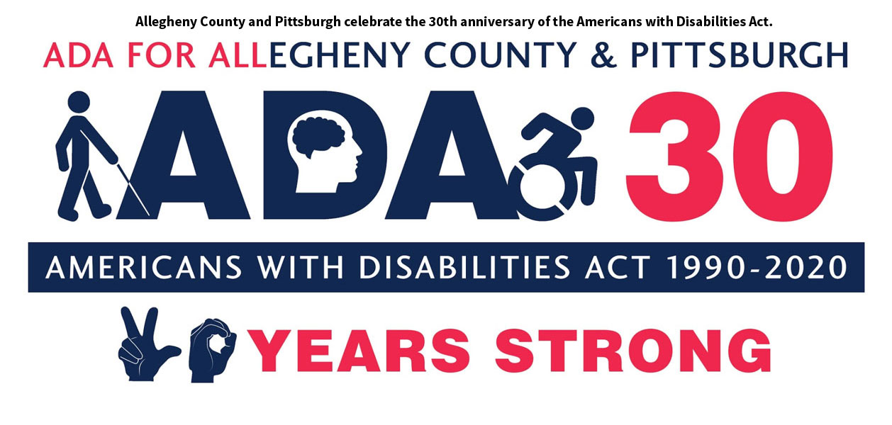 Red and blue ADA30 logo featuring symbols representing people with disabilities.