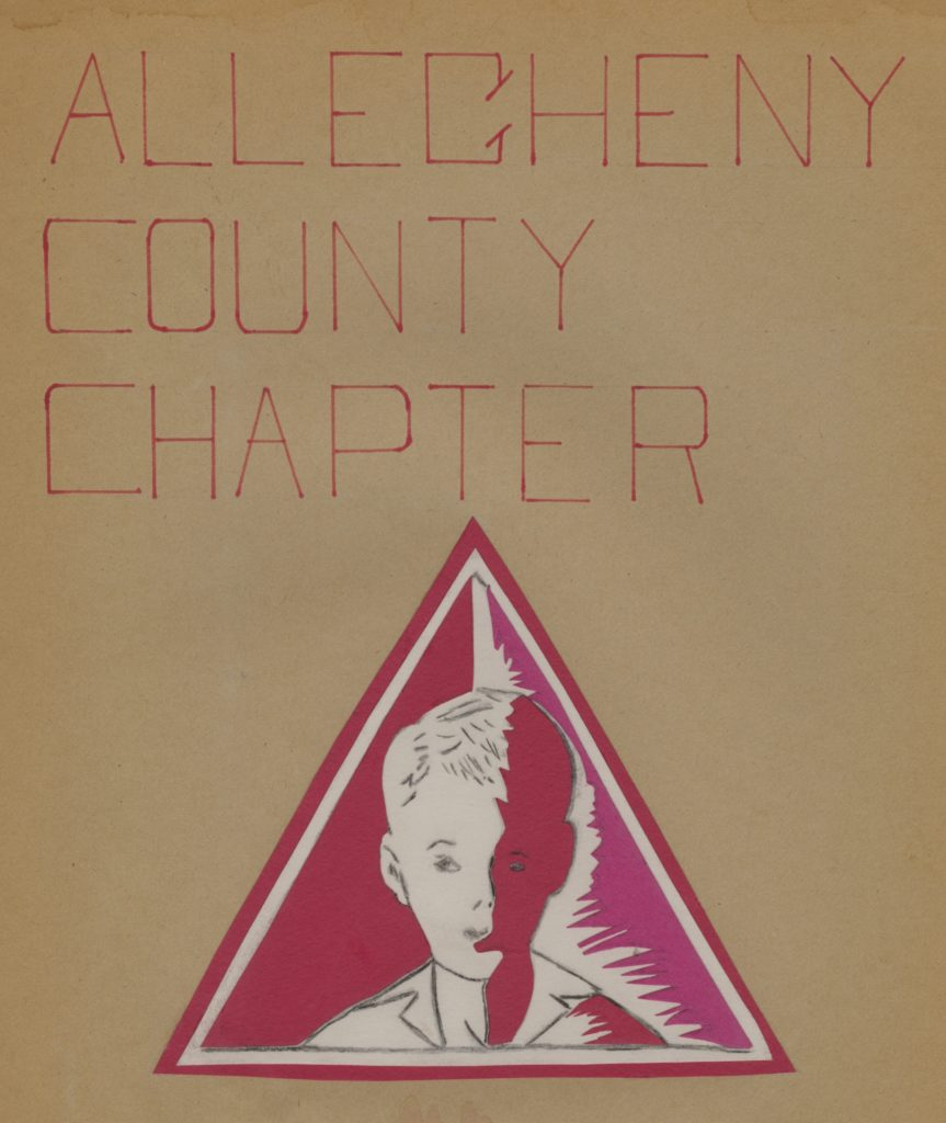 Image shows red and white Arc of PA Allegheny County chapter logo, hand drawn, featuring the silhouette of a young child set within a triangle.